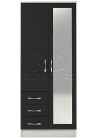 Classic 2 door 3 drawer combi full mirrored wardrobe white an black