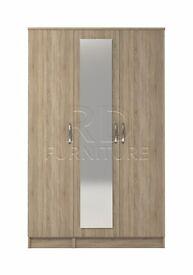 Beatrice 3 door mirrored wardrobe oak