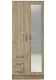 hampton 2 door 3 drawer combi full mirrored wardrobe oak