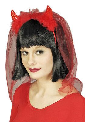 Brautschleier zum Teufelskostüm Rot - Haarreif mit Teufelshörnern und Schleier