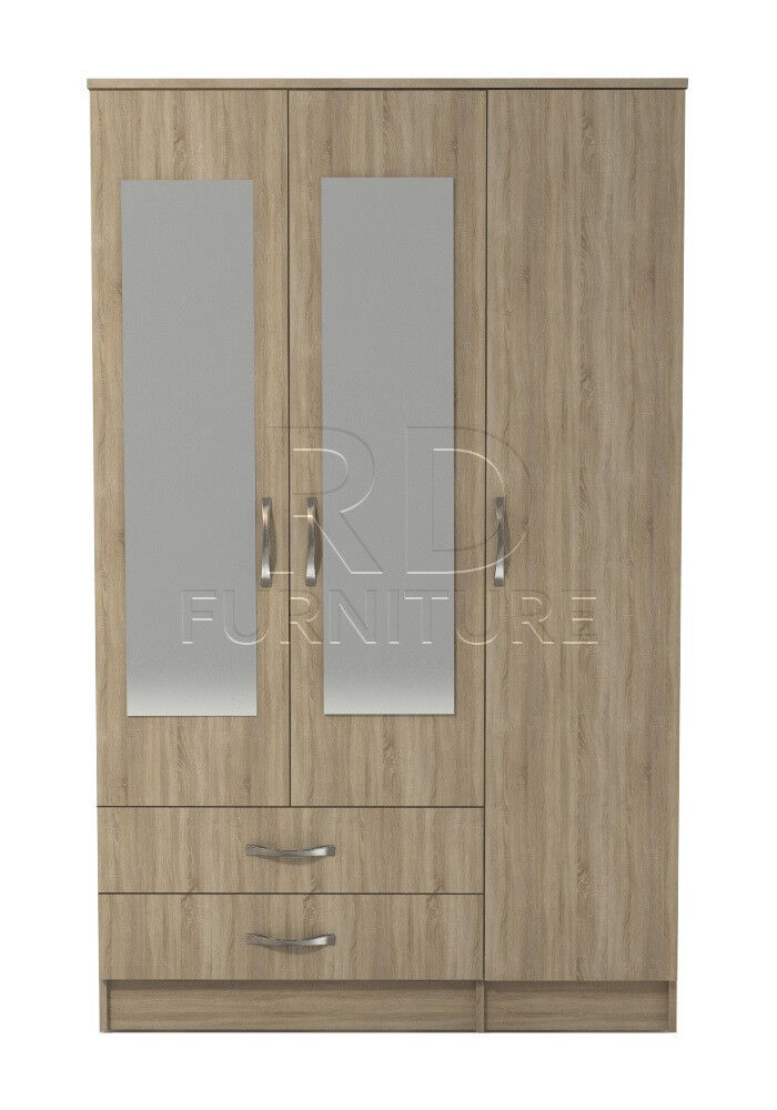 Beatrice 3 door 2 drawer mirrored wardrobe oak