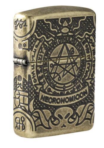 """Zippo 29561, """"Book of the Dead Design"""" Antique Brass Armor Lighter, Multi-Cut"""