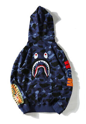 A Bathing Ape Bape Blue Camouflage Shark Unisex Teen Adult Hoodies