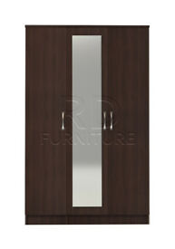Beatrice 3 door mirrored wardrobe walnut effect