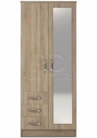 classy 2 door 3 drawer combi full mirrored wardrobe oak