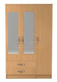 classy 3 door 2 drawer mirrored wardrobe beech effect
