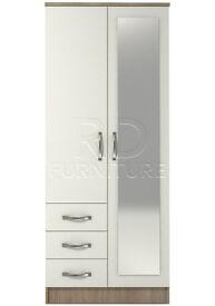Classic 2 door 3 drawer combi full mirrored wardrobe oak and white