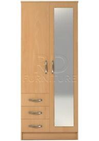 classy 2 door 3 drawer combi full mirrored wardrobe beech effect