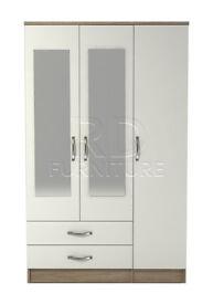 Classic 3 door 2 drawer mirrored wardrobe oak and white