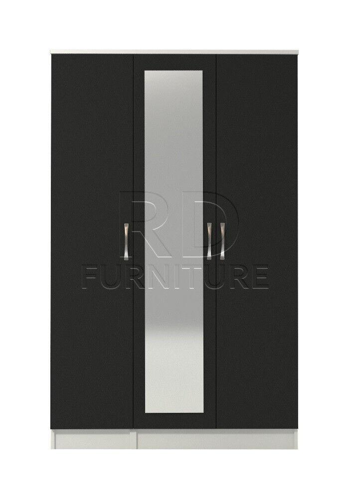 Beatrice 3 door mirrored wardrobe white and black