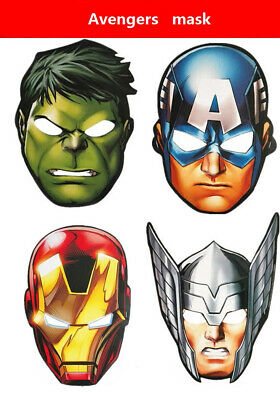 24 PCS AVENGERS DRESS UP PAPER MASKS -FANCY DRESS PARTY BAG FILLER FACE MASK (Avengers Dress Up)
