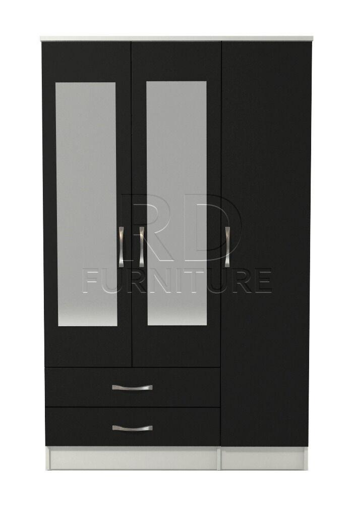 Beatrice 3 door 2 drawer mirrored wardrobe white and black