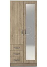 Classic 2 door 3 drawer combi full mirrored wardrobe oak