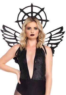 Dark Angel Set Heiligenschein Flügel Leg Avenue Schwarzer Engel - Kostüm Dark Angel Flügel