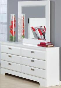 Brand New!! Contemporary Style, 6 Drawer White Bedroom Dresser