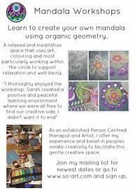 Mandala drawing, limited space, 5 hour workshop in Peacehaven. £50 inc vegi lunch and all materials