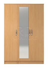 Beatrice 3 door mirrored wardrobe beech effect