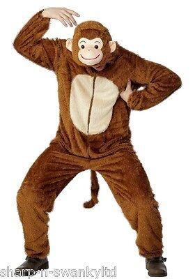 Herren Affe Zoo Dschungeltier Overall Stag Party Kostüm Kleid Outfit (Dschungel Kostüm Party)
