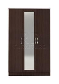 Beatrice 3 door mirrored wardrobe walnut effect