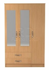 Beatrice 3 door 2 drawer mirrored wardrobe beech effect