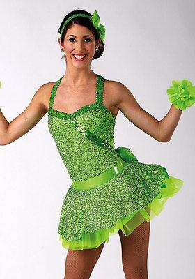 NIP A Wish Come True 12680 Firework Glo Green Dance Costume MA Medium Adult