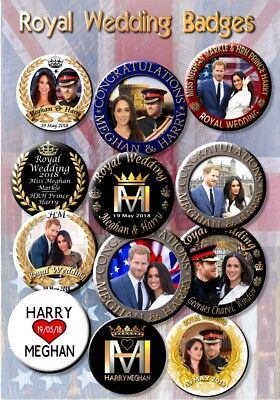 Prince Harry Meghan Markle Button Badges  Royal Wedding Souvenir  Set Of 12