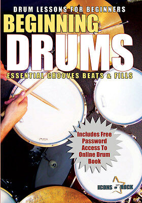 DRUM LESSONS FOR BEGINNERS - NEW FREE USA SHIP Learn to Play The Drum Kit Video