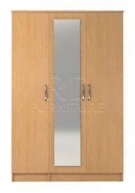 Hampton 3 door mirrored wardrobe beech effect