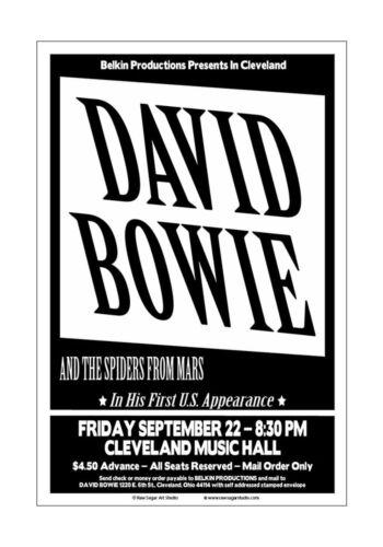 David Bowie 1972 Cleveland Concert Poster