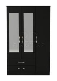 classy 3 door 2 drawer mirrored wardrobe full black