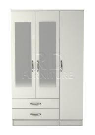 Beatrice 3 door 2 drawer mirrored wardrobe white finish