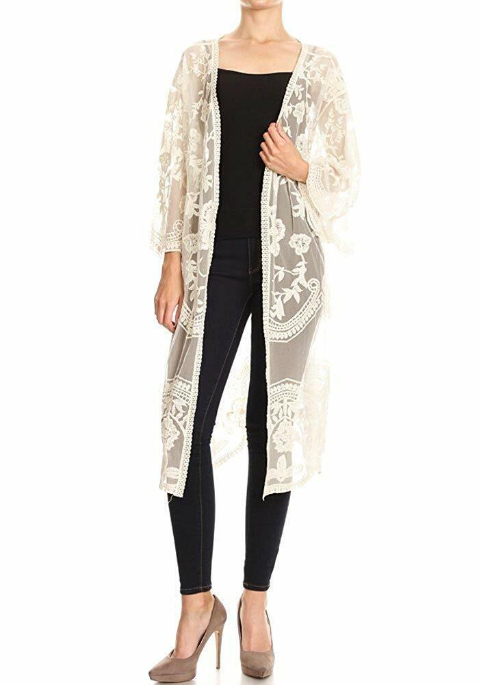 Anna-Kaci Womens Long Embroidered Lace Kimono Cardigan with