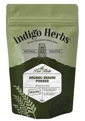 Organic Brahmi Powder - 100g - Indigo Herbs Brahmi Herb Powder