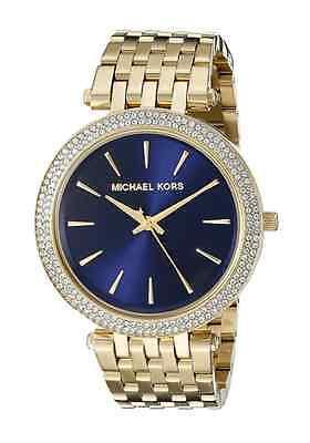 New Michael Kors Darci Gold Blue Dial Stainless Steel MK3406 Women Crystal Watch