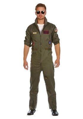 Pilot Kostüme (Deluxe Piloten-Overall Jetpilot Kostüm Baumwolle inkl. Brille FÜR GROSSE HERREN)