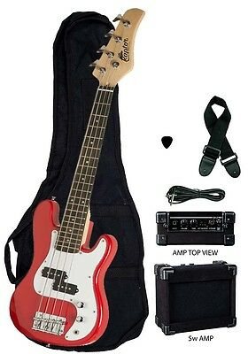 "New Raptor 38"" Kid's 3/4 Size Junior Kid's 4 String Electric P Bass Pack - RED"