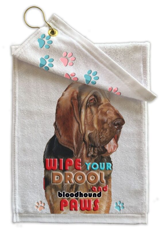 """Bloodhound Paw-Wipe Terry Towel 11"""" x 18"""" Grommet with Hook"""