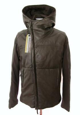 Emporio Armani Puffer Khaki Leather Hooded Jacket £1590 EU52 Large Coat Quilted