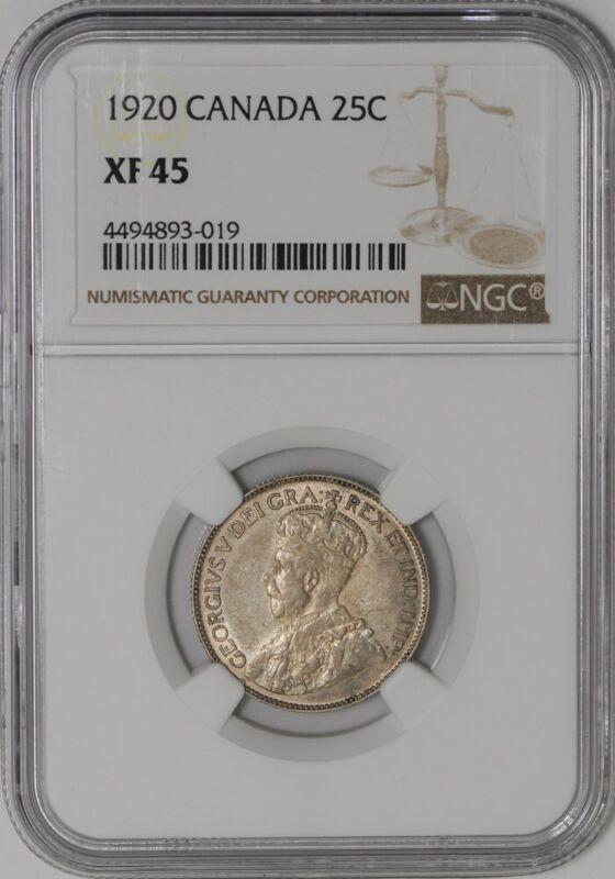 1920 Canada 25c XF45 NGC  938726-2