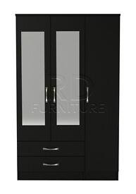 Classic 3 door 2 drawer mirrored wardrobe black finish