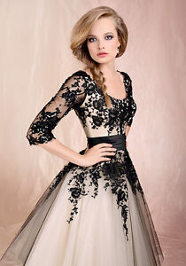 Black/Ivory Lace Sleeves A-line Wedding Dress Bridal Gown Stock 6 8 10 12 14 16