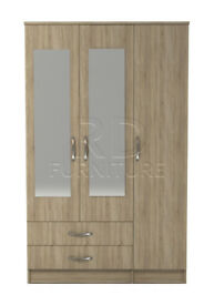 Beatrice 3 door 2 drawer mirrored wardrobe oak