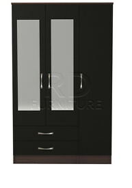 Hampton 3 door 2 drawer mirrored wardrobe walnut and black