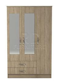Classic 3 door 2 drawer mirrored wardrobe oak