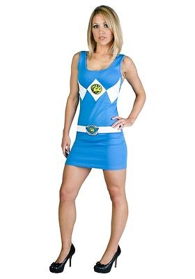 Cute Adult Costumes (POWER RANGER Blue Tank Dress Adult Womens Costume Cute COSPLAY Wear)