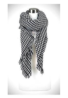 Houndstooth Wrap - Designer Black White Houndstooth Large Shawl Scarf Cashmere Feel Acrylic Wrap
