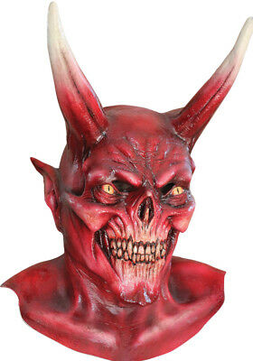 Halloween LORD OF EVIL RED DEVIL DEMON Adult Latex Deluxe Mask Haunted House NEW (Lorde Halloween)