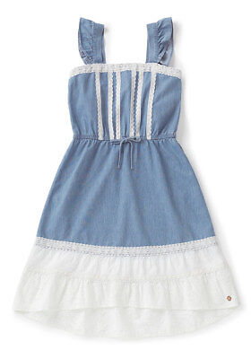 NWT MATILDA JANE JOANNA GAINES BARN DANCE TONIGHT DENIM/LACE DRESS TWEEN SIZE 14 - Tween Dance Dresses