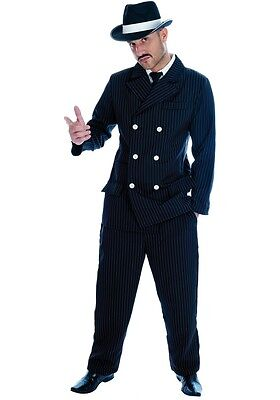 Mens Black Pinstripe 1920s Gangster Suit Bugsy Malone Fancy Dress Costume Outfit (1920 Gangster Outfit)