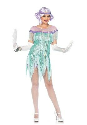 Aqua Foxtrot Flirt Flapper Adult Womens Costume, Roarin 20s, Leg Avenue